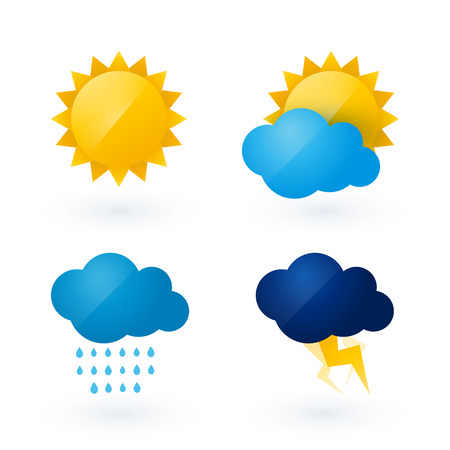 cloudy weather: Icons for weather with sun and cloud motif
