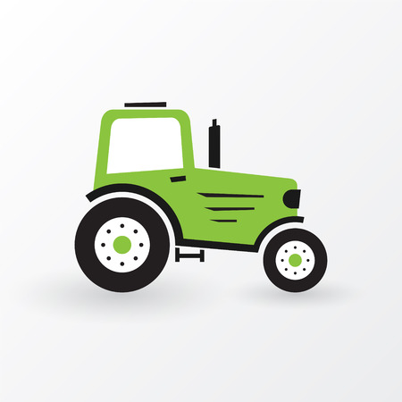 old tractor: simple green farm tractor Illustration