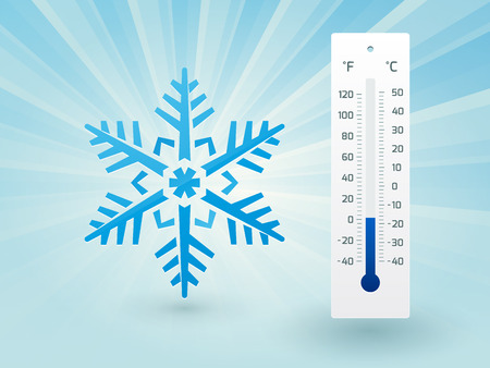 Snowflake with a thermometer on frost Vector