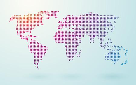 Karte der Welt der kleinen farbigen Quadraten Standard-Bild - 32374581