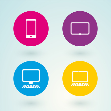 set of icons mobile devices and computers Vector