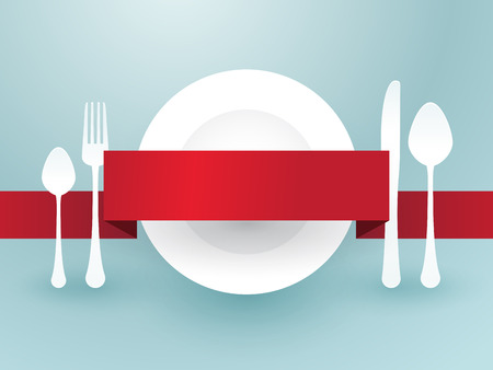 cutlery with ribbon over plate Vector