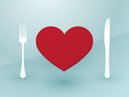 fork knife and red heart Vector