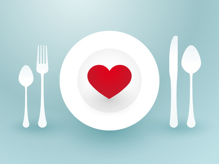 fork knife and a red heart on a plate Vector