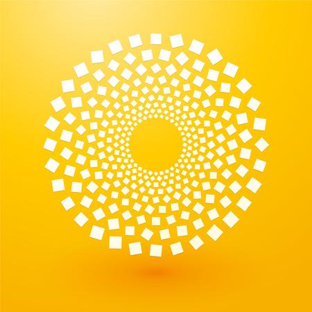 spotlight white background: circles of white squares on yellow background