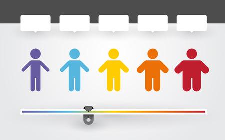 hombre flaco: coloridos personajes con diferentes pesos y el indicador de �ndice de masa corporal