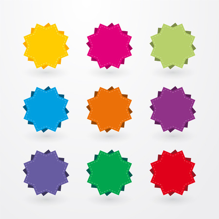 colored stickers in the shape of stars Vector