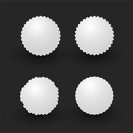 white circular sticker Vector