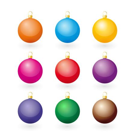 Set of color Christmas balls Vector