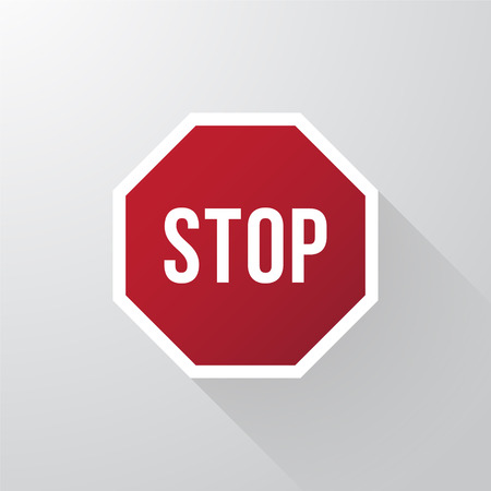 stop icon: Stop sign with long shadows