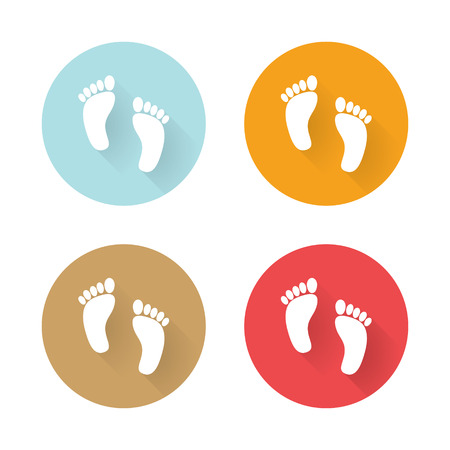 foots: Icons human foots long shadows Illustration