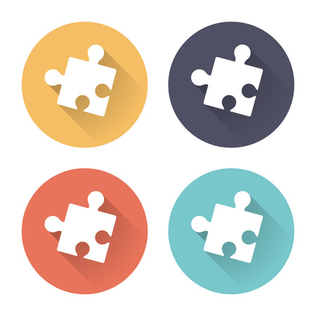 colorful puzzle icons with long shadows
