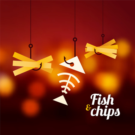 fish and chips: fish and chips op rode onscherpe achtergrond