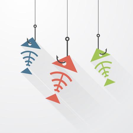 skeleton of fish: tres esqueleto de los peces en el anzuelo con largas sombras Vectores
