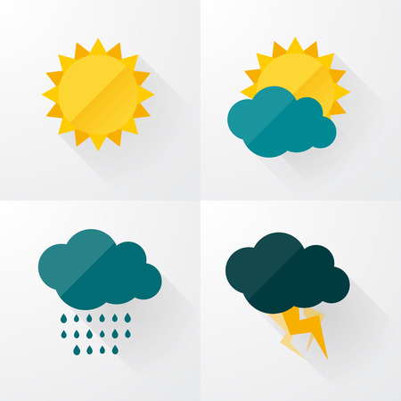 дождь: Погодные иконки с длинными тенями Иллюстрация