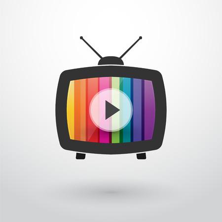 vieille télé avec des rayures colorées et bouton de lecture