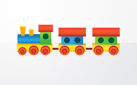 Childrens color toy train with carriages