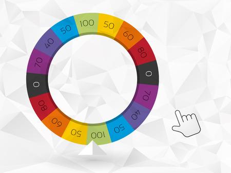 rueda de la fortuna: rueda de color de la fortuna con el cursor Vectores