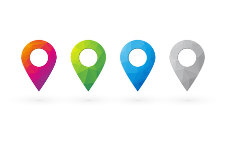 beautiful color CMYK pins for determining the position on the map Vector