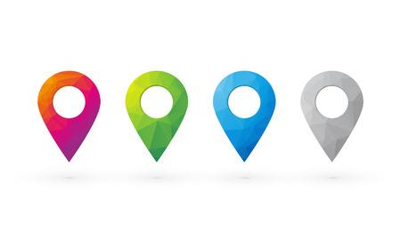 determining: pasadores hermosos colores CMYK para determinar la posici�n en el mapa Vectores