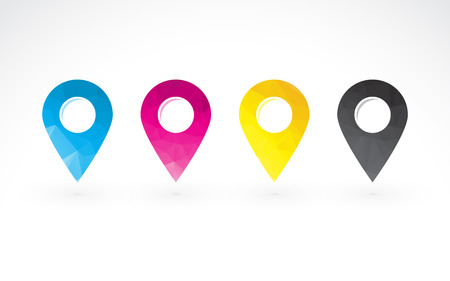 to determine: cmyk colored pins to determine the position on the map