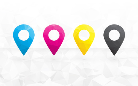 to determine: cmyk colored pins to determine the position on the map in the background triangular