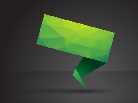 green origami tag with triangles and shadow Vector