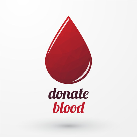 Donate blood and red drop with shadow Vector