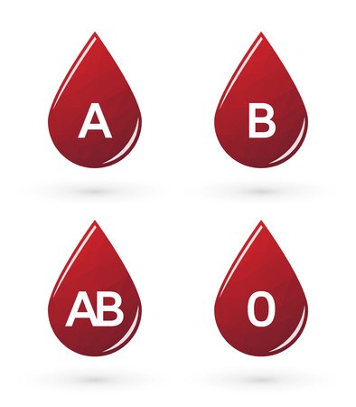 blood type: Drops of blood with triangles labeled blood type