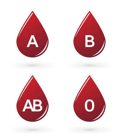 blood type: Gotas de sangre con tri�ngulos marcado el tipo de sangre
