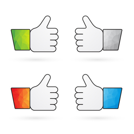 recommend: four indicators recommend thumbs up with colorful sleeves as like