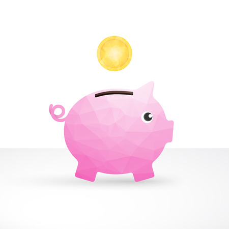 small pink pig as a money box and coin Vector