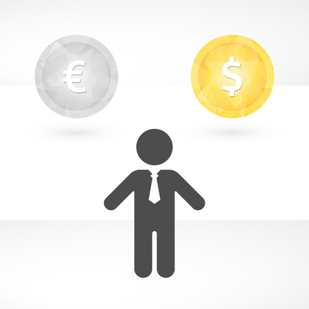 Silhouette of man with tie and the currencies of the dollar and euro Vector