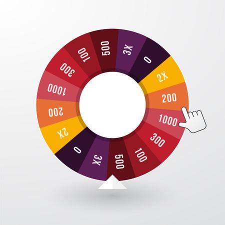 roulette: ruota della fortuna con il puntatore in colori pastello