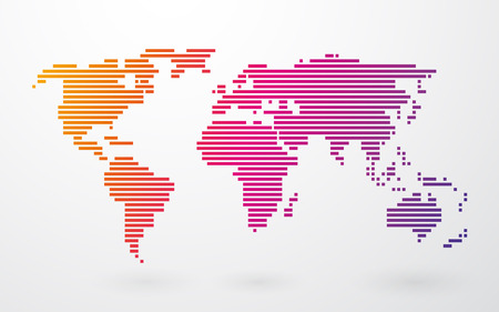 world map made up of colored stripes on a light background Vector