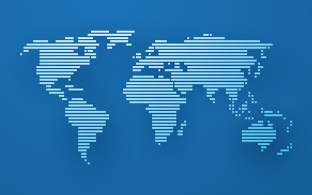 simple world map made up of white stripes on a blue background
