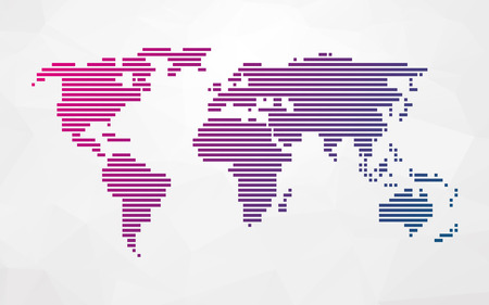geography map: simple world map made up of colored stripes on a bright triangular background