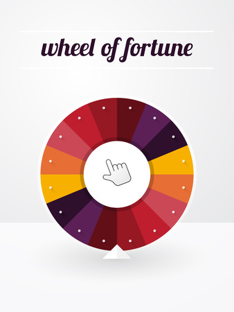 spinning wheel: empty wheel of fortune with a pointer and label