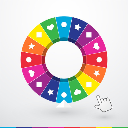 Brightly colored wheel of fortune with childrens symbols Ilustração
