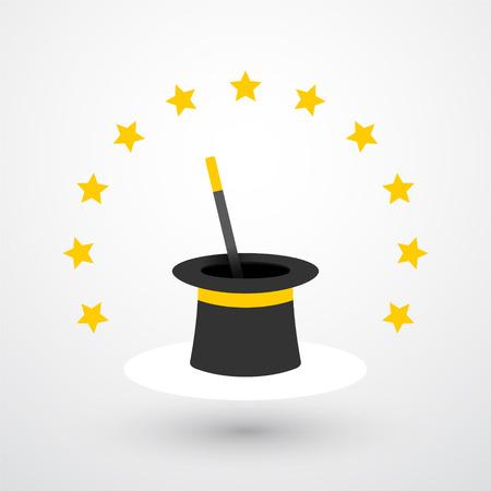El sombrero mágico y varita mágica con estrellas