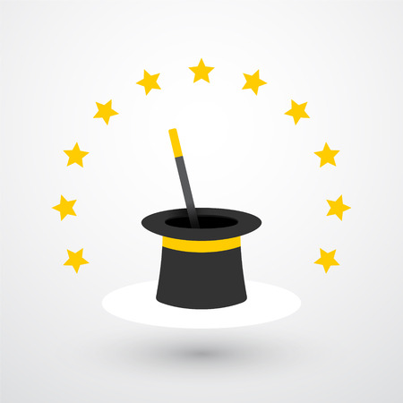 magie: Le chapeau magique et baguette magique avec des étoiles Illustration