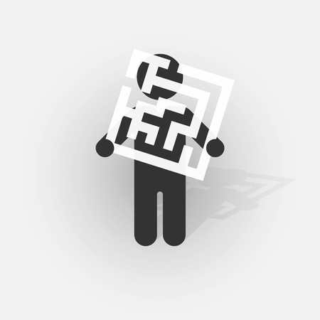 Simple black silhouette of a man with a sign with a small mazes Vector