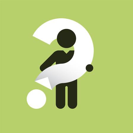signo de interrogacion: Silueta negro simple de un hombre con un gran signo de interrogaci�n blanco Vectores