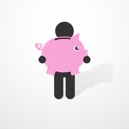 Simple black silhouette of a man with pink piggy piggy banks Vector