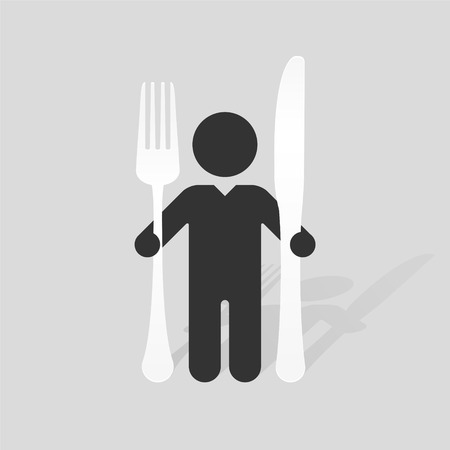 eating utensil: Simple black silhouette of a man with a large knife and fork