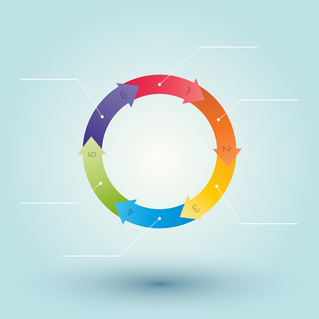 wheel from colored numbered arrows with labels Vector