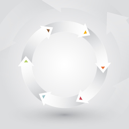 wheel of the white arrows with colorful spikes Vector