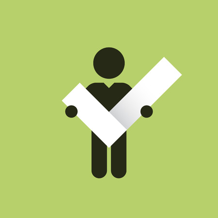 figure holding in hands symbol right check mark Vector