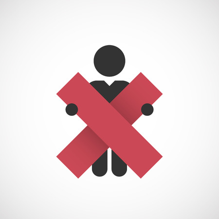 figure holding in hands symbol wrong mark Vector