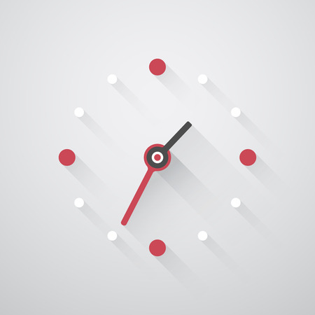 o'clock: simple clock with red and white dots and long shadows